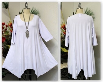 8f21380ad28 ComfyPlus Lagenlook Plus size Long Tunic in White color. Stylish