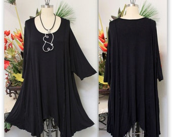 c8a40264d79 ComfyPlus Lagenlook Plus size Long Tunic in Black color. Stylish