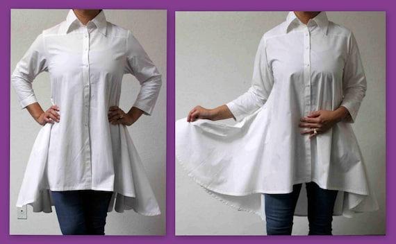 a0a4a52fe26 White Shirt Boho Country Western all Cotton Designer Hi Low
