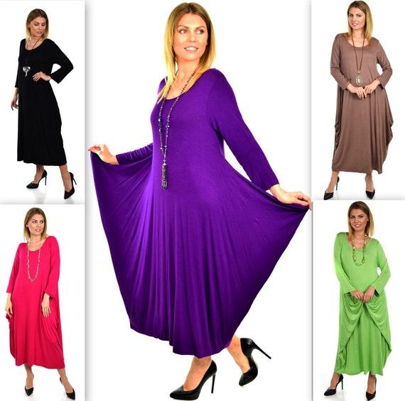 Plus Size Dress,New Designer Dress,Lagenlook Dress, Waterfall Dress, Plus  Size Dress. XL to 4XL