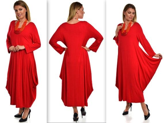 Plus Size Dress,New Designer Dress,Lagenlook Dress, Waterfall Dress, Plus  Size Dress, Summer Dress, Quirky Dress, Red Dress