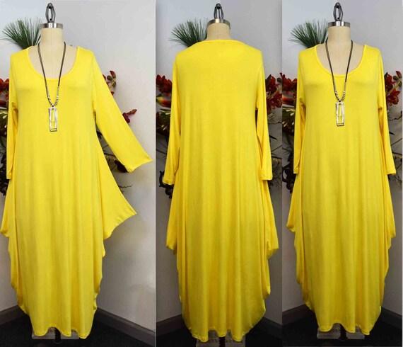 Plus Size Dress,New Designer Dress,Lagenlook Dress, Waterfall Dress, Plus  Size Dress, Summer Dress, Quirky Dress, Yellow Dress