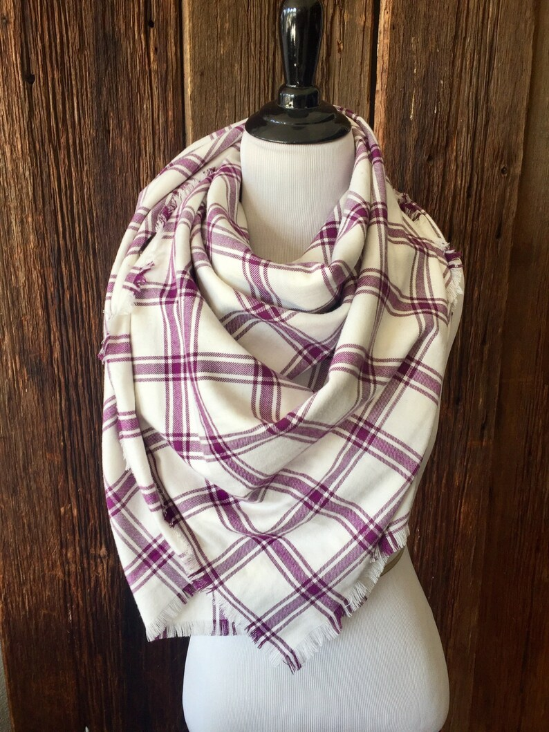 f1e2f86870c Large Blanket Scarf, Soft Cotton Flannel Plaid Tartan Purple, Cream