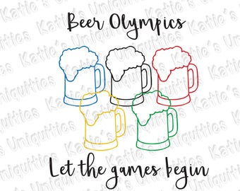 Beer Olympics Beer Mug Glass Let the Games Begin SVG Digital Cut File for use with cutting machines Cricut Silhouette