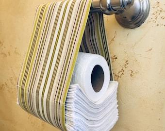 Toilet Paper Holder for Cloth Toilet Paper Unpaper Strips / Multiple Colors / Washable Reusable Toilet Paper Strips Holder / Fits Rollers