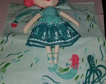 Mermaid doll with quilt and pillow