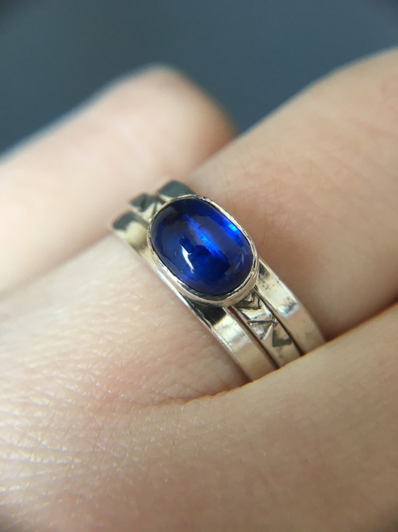 Kyanite and sterling silver stacking rings Three rings set sterling silver Tiny rings Patterned silver rings Mothers day gift idea