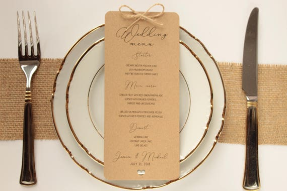 Sample Rustic Wedding Menu Cards Twine Wedding Menu Dinner Etsy