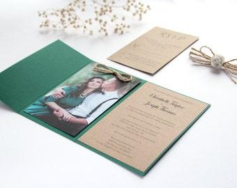 SAMPLE, Forest Green Wedding Invitation, Hunter Green Invitation, Rustic Green Wedding Invitation, Wedding Invitation with Photography
