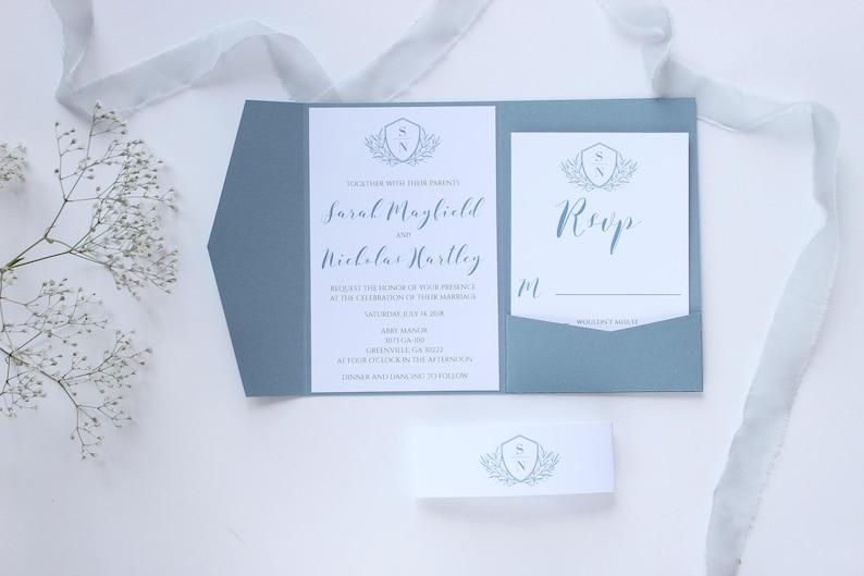 SAMPLE Slate Blue Wedding Invitation Dusty Pale Monogram Pocket