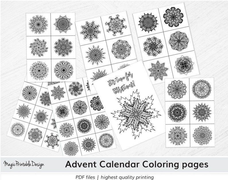 d9f538a58ba9c7 DIY Advent Calendar coloring pages Christmas Holly Mandala | Etsy