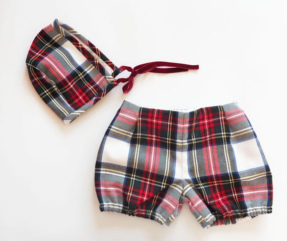Set Baby shorts and Bonnet,winter,Christmas Celebration,red,black,white,yellow,tartan plaid pattern,baby clothes,baby girl,boy classic look