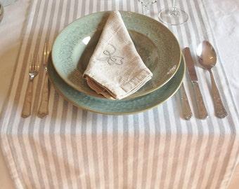 Stripes table runner, grey, white, beach style, modern dinnertable, decorative linens, rectangular shape 150x45cm ( 59x17.7 inches)