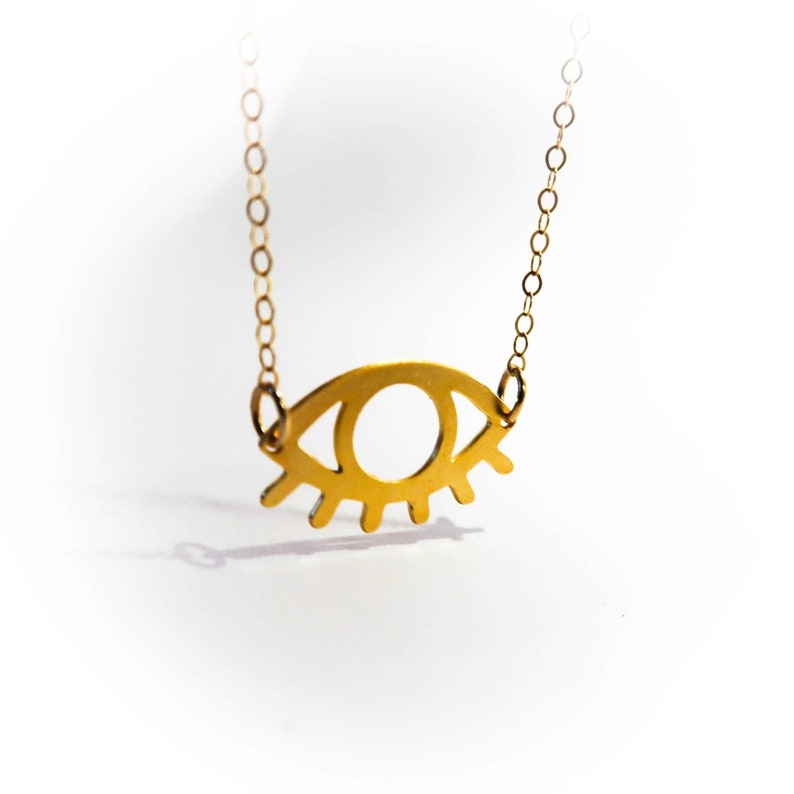 Gold Eye Tiny Pendant Necklace Evil Eye Jewelry Beep Studio Unisex Sterling Silver Art Statement Necklace Silver Gold Eye Spiritual Lucky
