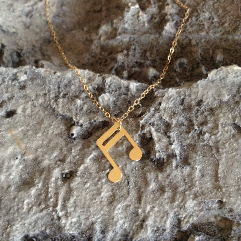 Music Note Statement Jewelry Necklace Gold Filled Silver Necklace Gold Plated Pendant Unisex Fashion Hipster Chic Bohemian Design Art