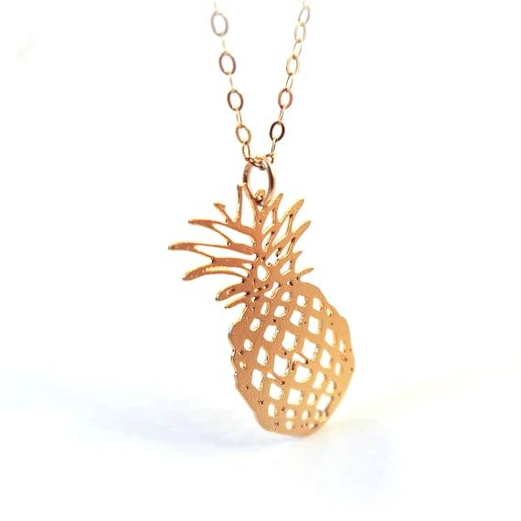 Pineapple necklace Simiple necklace Fruit necklace Minimal jewelry