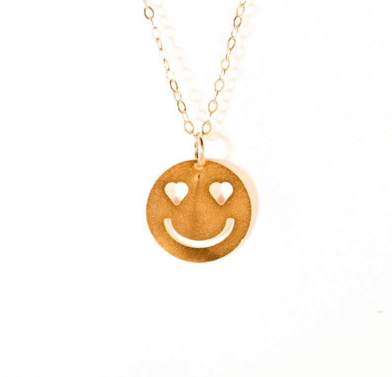 Smiley In Love Necklace Gold Filled Smiley Icon Jewelry Beep Studio Design Art Logo Necklace Gold Silver Plated Small Pendant Miniature Gift