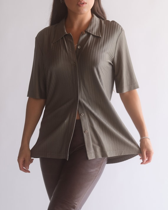 Vintage Escada olive green pure silk button up sh… - image 1
