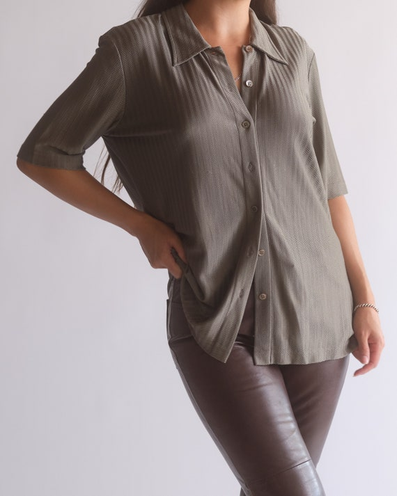 Vintage Escada olive green pure silk button up sh… - image 6