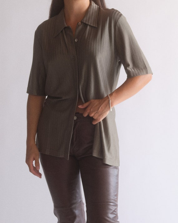 Vintage Escada olive green pure silk button up sh… - image 3