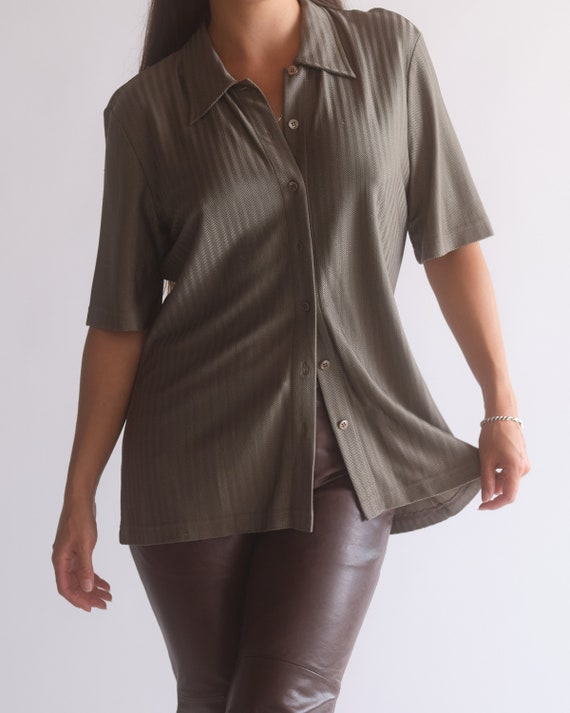 Vintage Escada olive green pure silk button up sh… - image 4