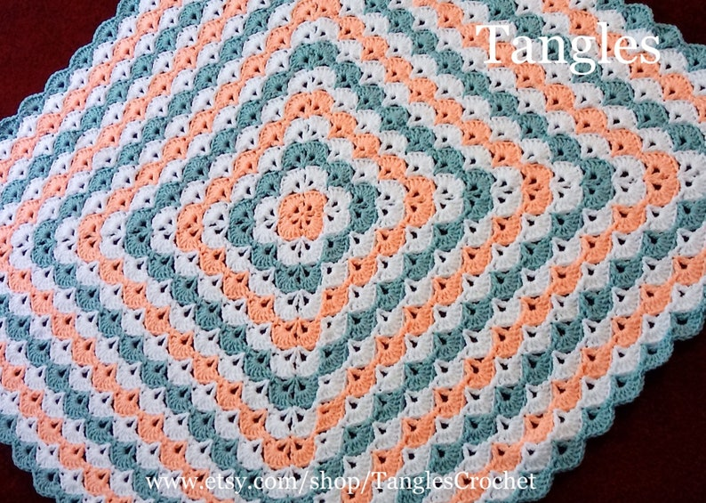 Ready to Ship 36x36 Peach Sea Green White Baby Blanket with Matching Teddy Bear