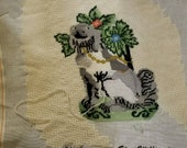 Vintage, Unfinished Spaniel, Staffordshire Mantle Dog, Pillow Needle Point, 14 quot Square, Pillow Top, with yarn to finish
