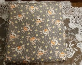 Vintage, Brown and Orange, Flowers and Squares, 42 quot Length x 33 quot wideth, cottage, country, quilts, curtains, dress
