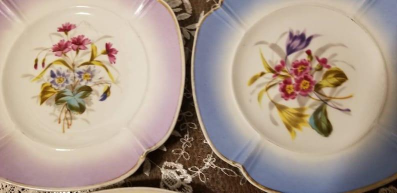 Vintage plates pastel border Tielsch square porcelain floral garden party mismatch Germany Six 8 Square Salad Plates C
