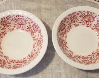 """Rare, Vintage, 6 1/4"""" Syracuse, Mayflower Red, 2 Soup or Salad Bowls, transfer ware, restaurant ware, scalloped edge, mismatch"""