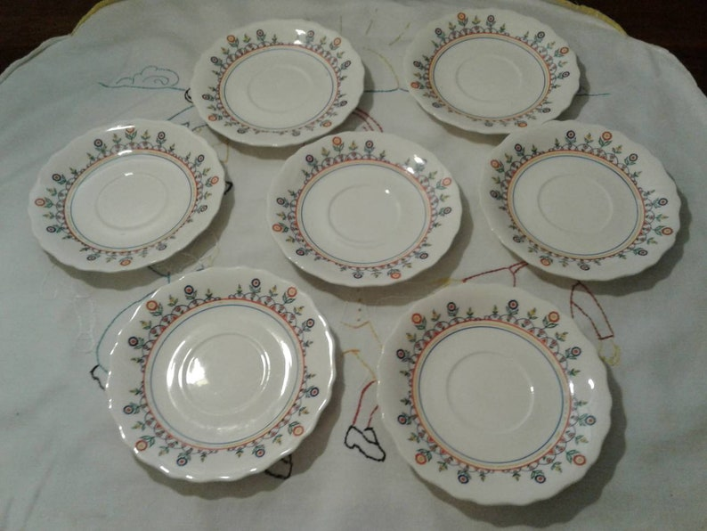 flower doodles Rare Canonsburg 7 Cups and Saucers Vintage cottage primary colors flowers CAN153