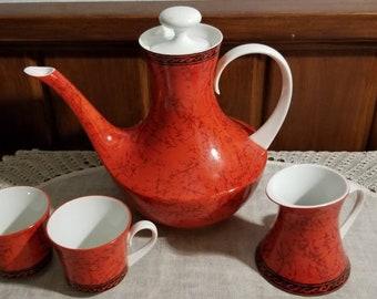 Vintage, Retro, Red , Coffee Pot, Flamenco, Block, Bidosa Spain,  Creamer, 2 Espresso Cups, Tea Pot, Chocolate Pot
