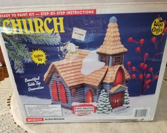 NOS, Unpainted Church, Craft Kit, Wee Crafts, Pine Grove Community Church