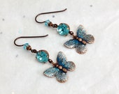 Copper & Iridescent Aqua Butterfly Earrings with Niobium Earwires