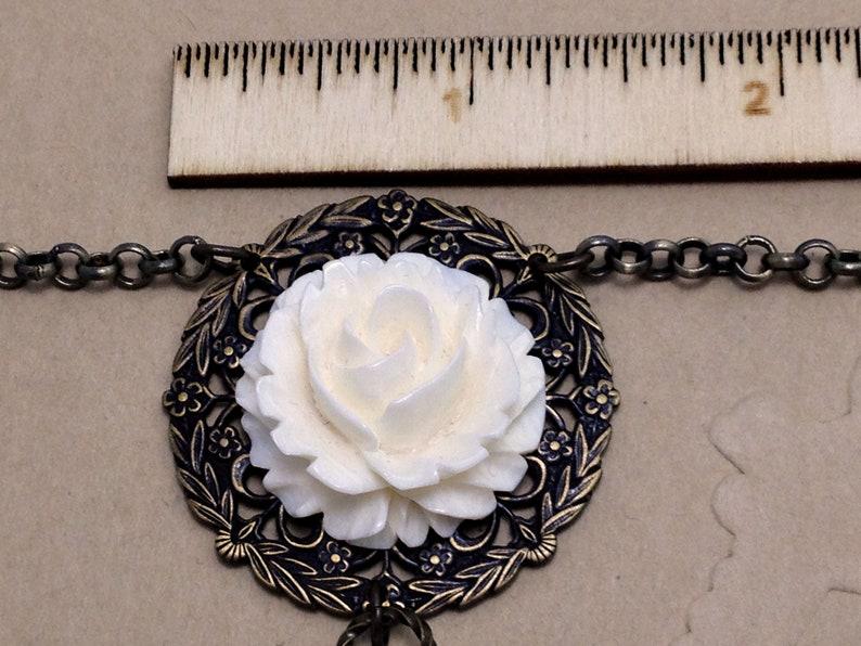 Adjustable Necklace With Silk Tassel And Carved Bone Beads Victorian Carved Bone Rose Filigree