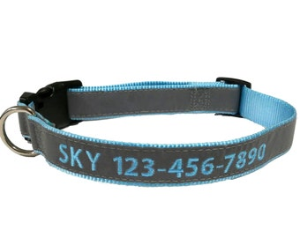 Super Reflective LIGHT BLUE Personalized Dog Collar with Monogram embroidery