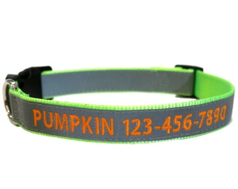 Super Reflective LIGHT GREEN Personalized Dog Collar with Monogram embroidery