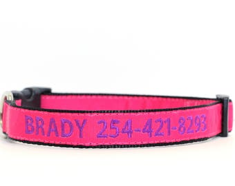 Custom Personalized Embroidered Pink Nylon Dog Collar