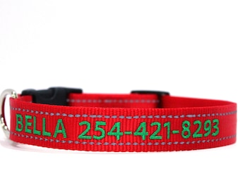 Custom Personalized Embroidered Red Reflective Dog Collar