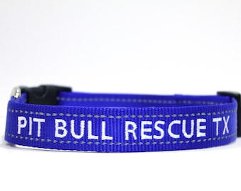 Custom Personalized Embroidered Blue Reflective Dog Collar