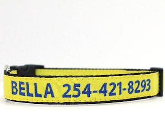 Custom Personalized Embroidered Yellow Nylon Dog Collar