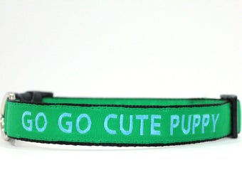 Custom Personalized Embroidered Green Nylon Dog Collar