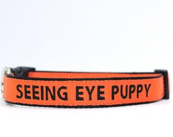 Custom Personalized Embroidered Orange Nylon Dog Collar