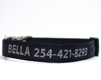 Custom Personalized Embroidered Metal Buckle Black  Dog Collar