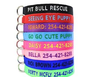 Custom Personalized Soft Flexible Nylon Embroidered Dog Collar