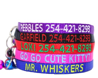 Custom Personalized Embroidered Nylon Breakaway Cat Collar W/Bell