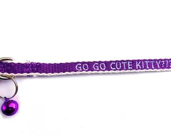 Custom Eco Friendly purple/white Breakaway Cat Collar w/Bell