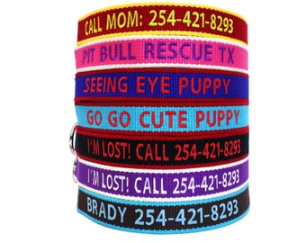 Great Gift For Your New Puppy - Personalize ECO Dog Collar Custom Made Embroider With Name and Number