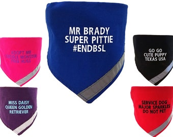 Custom Embroidered Personalized  Dog Collar And Bandana With Reflective Safety Strip