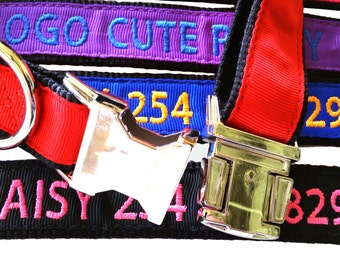 Custom Metal Buckle Personalized Embroidered Nylon Dog Collar